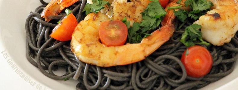 Spaghetti à l'encre de seiche